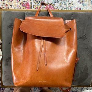 Mansur Gavriel large leather backpack caramel